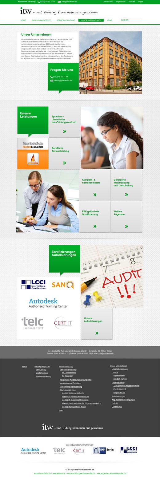 """Landing Page zum Bereich """"Unser Unternehmen"""""""